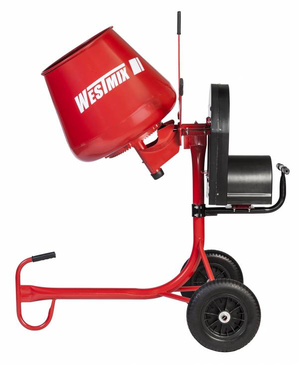 "Westmix 2.2 cu. ft. Electric Mixer (65 lt) steel bowl, single belt driven electric cement mixer with 14"" flat free wheels, adjustable motor mount and bearing arm."