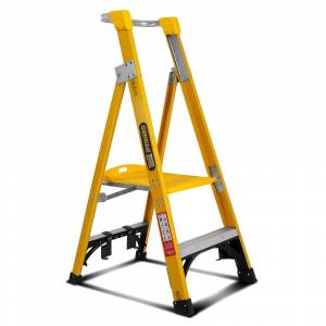 Gorilla FPL002-I 2-Step 0.6m 150kg Fibreglass Industrial Platform Ladder