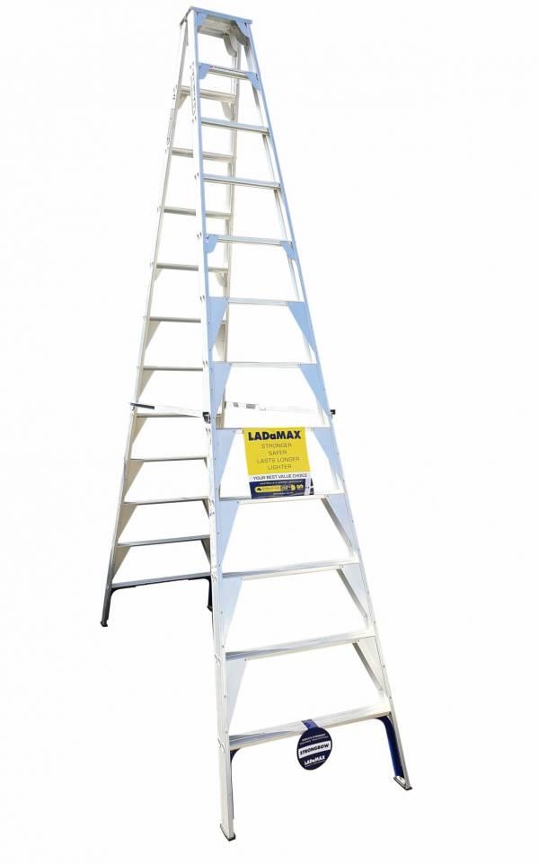 Ladamax Aluminium 150kg Double Sided Ladder - 16Ft (4.8m) | Ladamax Aluminium 150kg Double Sided Ladder - 16Ft (4.8m) | Ladamax Aluminium 150kg Double Sided Ladder - 16Ft (4.8m)