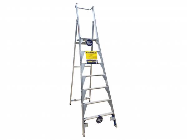 Ladamax Platform SteLadamax Aluminium Platform Step Ladder - 7 Step (2.1m)p Ladder | Only platform fail safe construction in the industry, test loaded to 500 kg | Swagelock style is much stronger in twist than riveted ladders | Strongbow World's Strongest Base Brace Tread Stiffener | Safety Gate (Optional Extra) | Castors (Optional Extra) | Rear Rollers improves mobility-standard on all: (PS11/8-PS13/10-PS15/12)