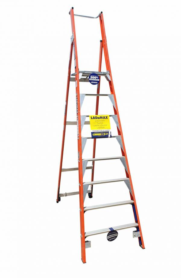 "Ladamax 150 KG Fibreglass Platform Ladder - 7"" (2.1) | Ladamax 150 KG Fibreglass Platform Ladder - 7"" (2.1) | Ladamax 150 KG Fibreglass Platform Ladder - 7"" (2.1) | Castors (optional extra)"
