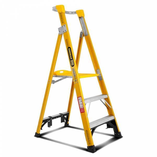 Gorilla FPL003-I 3-Step 0.9m 150kg Fibreglass Industrial Platform Ladder