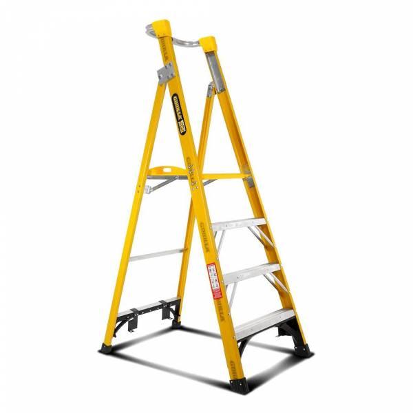 Gorilla FPL004-I 4-Step 1.2m 150kg Fibreglass Industrial Platform Ladder