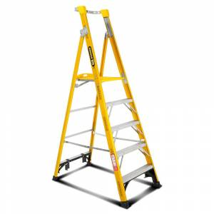 Gorilla FPL005-I 5-Step 1.5m 150kg Fibreglass Industrial Platform Ladder