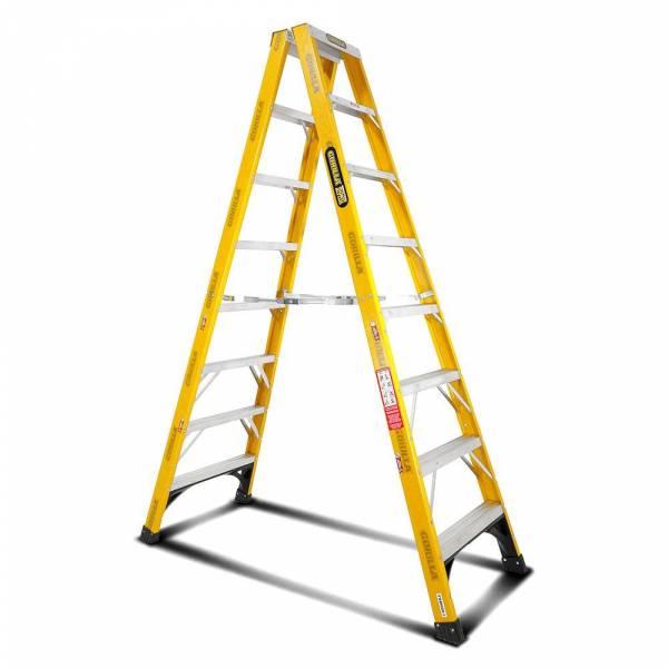 Gorilla FSM008-I 8-Step 2.4m 150kg Fibreglass Industrial Double Sided Step Ladder