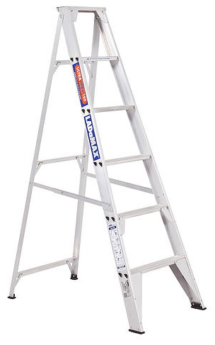A light weight yet rigid step ladder | 'Rock Solid' full gusset base brace system | Swagelock style is stronger in twist than riveted ladder