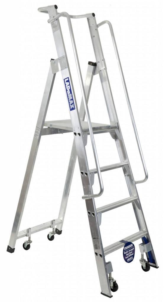 "Ladamax ""Stock-Mate"" Platform Ladder 150kg Rated (Aluminium) | Ladamax ""Stock-Mate"" Platform Ladder 150kg Rated (Aluminium) | Ladamax ""Stock-Mate"" Platform Ladder 150kg Rated (Aluminium) | Castors - Set of 4 (Optional Extra)"
