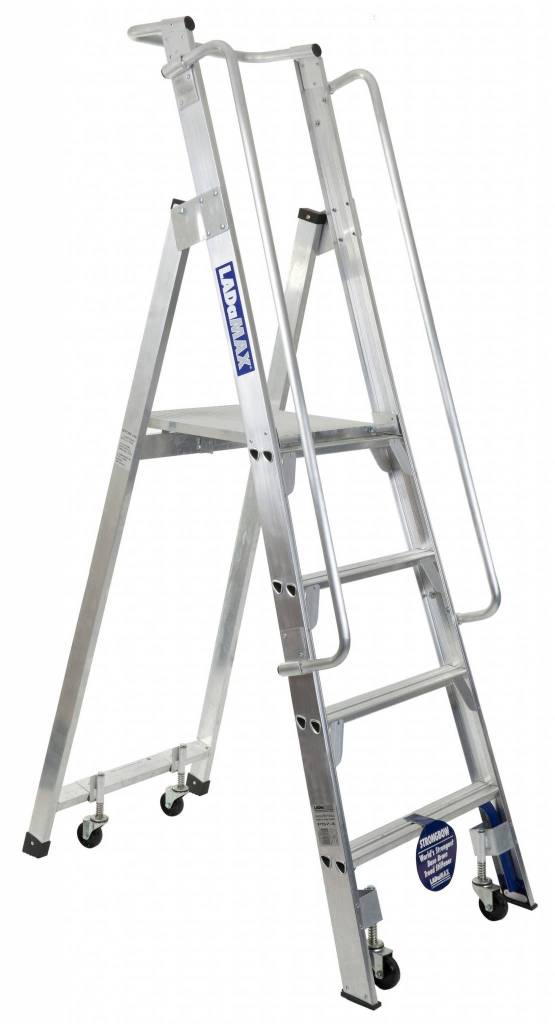 "Ladamax ""Stock-Mate"" Warehouse Platform Ladder 150kg Rated 4"" (1.2m) 