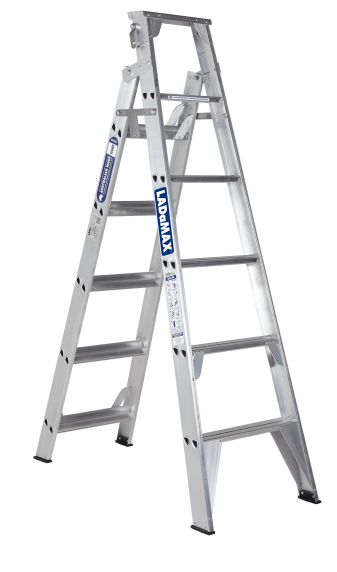 Dual Purpose Light weight rigid product | Extended Ladder Extends | Swagelock Swagelock style is stronger in twist than riveted ladder | Rear Outrigger Rear 'outrigger' stabilisers for improved safety.
