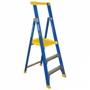 BAILEY Fibreglass P150 Platform Ladder 3 Steps 0.9m | Bailey P150 Fibreglass Platform Step Ladder | Bailey P150 Fibreglass Platform Step Ladder | Safety Gate for Bailey P150 FG Platform | Safety Gate for Bailey P150 FG Platform