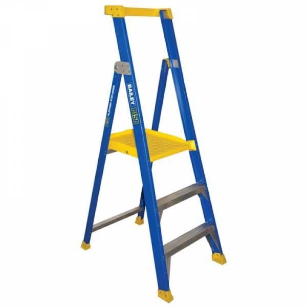 BAILEY Fibreglass P150 Platform Ladder 3 Steps 0.9m | Bailey P150 Fibreglass Platform Step Ladder | Bailey P150 Fibreglass Platform Step Ladder | Safety Gate for Bailey P150 FG Platform | Safety Gate for Bailey P150 FG Platform
