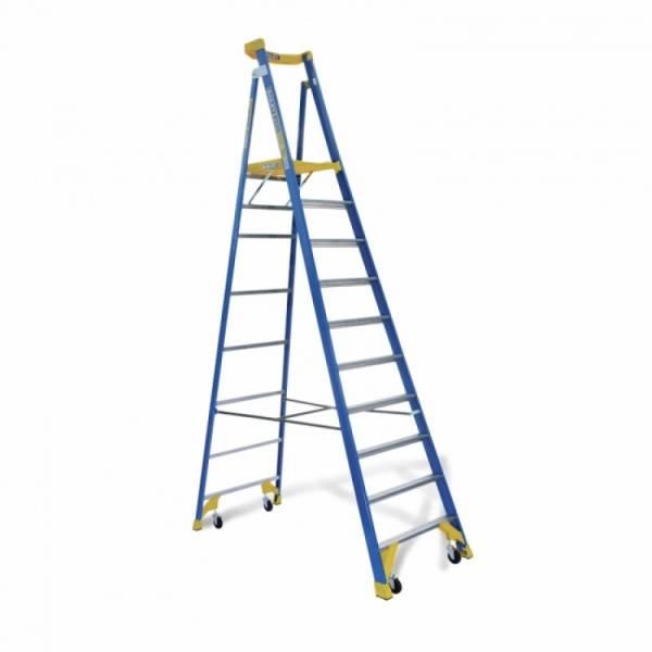 BAILEY P170 Job Station Fibreglass Platform Ladder 10 Steps 10ft 2.9m