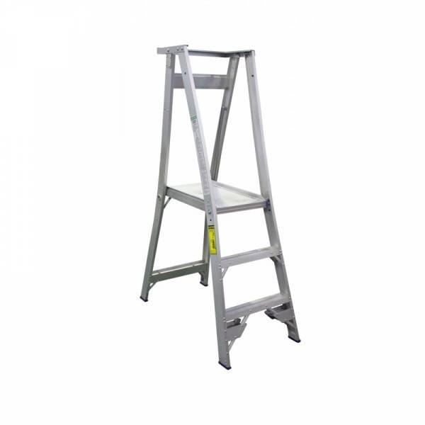 INDALEX Pro Series Aluminium Platform Ladder 3 Steps 6ft/3ft (1.8m/0.9m) | Indalex Platform Shelf | Indalex Platform Castors | Indalex Safety Gate