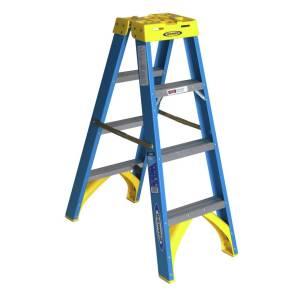 Werner Fibreglass 150kg Industrial Double Sided Ladder - 3 Step (0.9m)