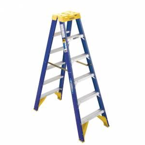 Werner Fibreglass 150kg Industrial Double Sided Ladder - 6 Step (1.8m)