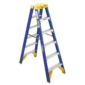 Werner Fibreglass 150kg Industrial Double Sided Ladder - 8 Step (2.4m)