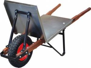 Boss Brickies Flat Tray Timber Handle W/Barrow with FLAT FREE Wheels